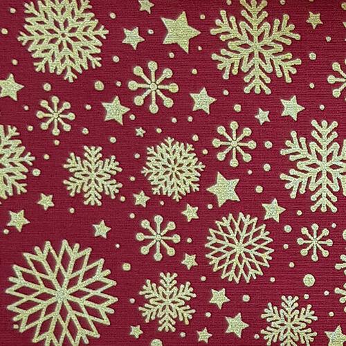 Tricoline Natal Flocos de Neve Fundo Vermelho