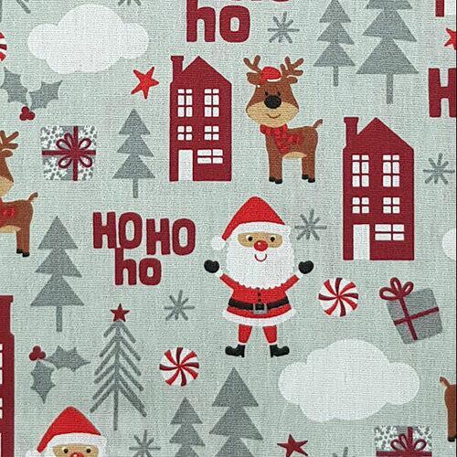 Tricoline Natal Noel e Rena Fundo Prata
