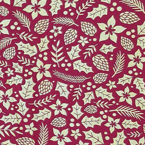 Tricoline Natal Pinhas Flores e Galhos Fundo Vermelho