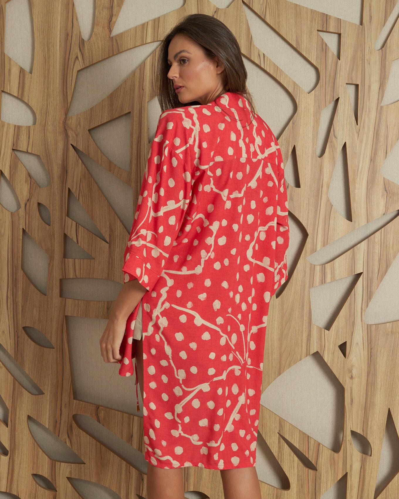 Kimono longo com amarração frente estampa borboletas romântic
