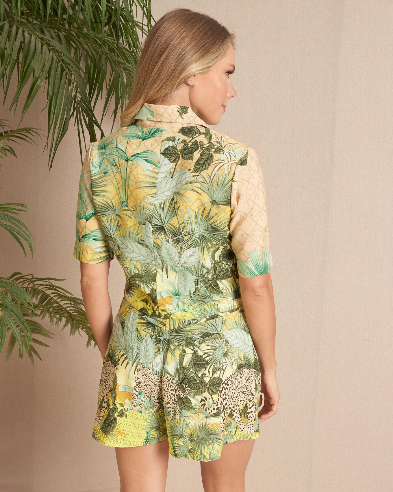 Blusa camisa cropped tropical onça