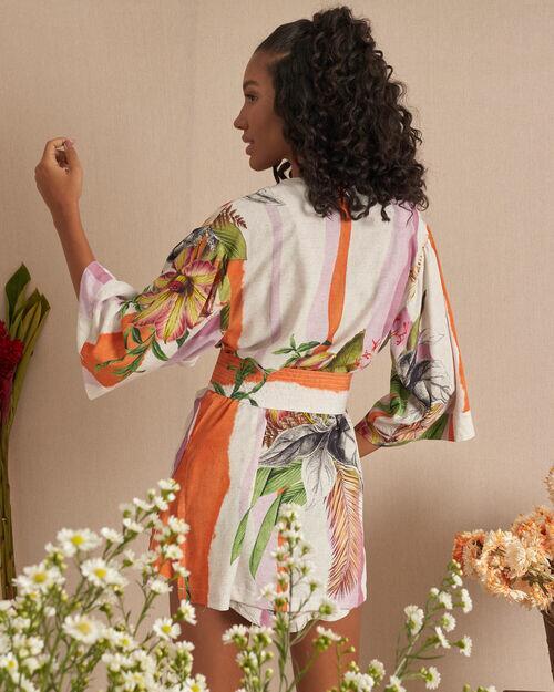Kimono com faixa listras florescer