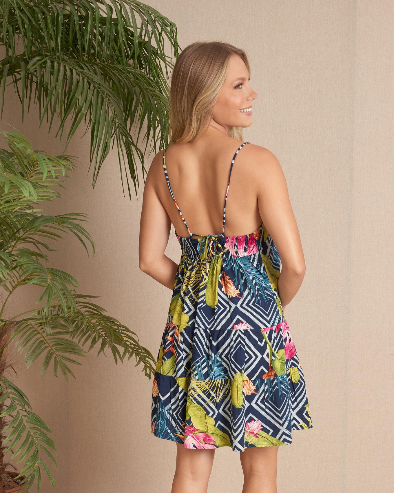 Vestido 3 camadas recortes tropical folhagens