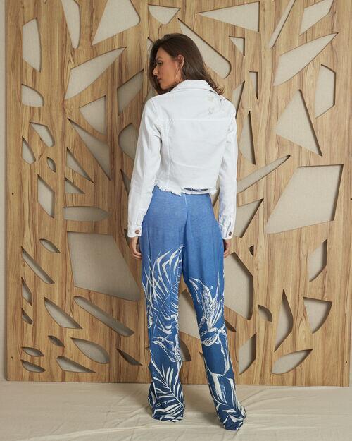 Calça pantalona com recortes laterais estampa lírios degerade