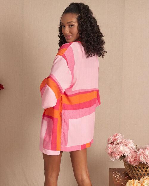 Kimono com aberturas laterais geométrico collor block
