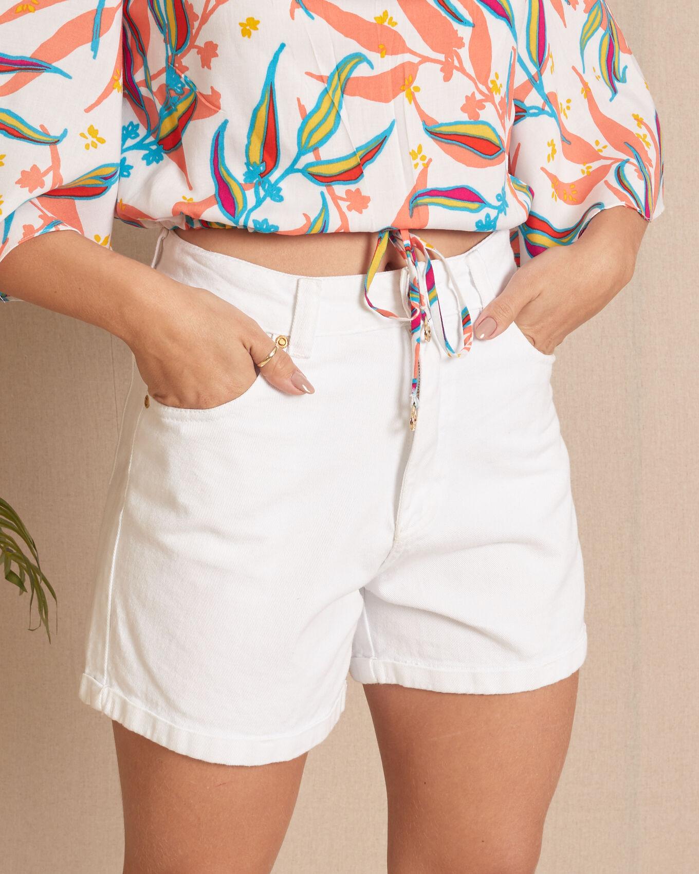 Short sarja branco cintura alta