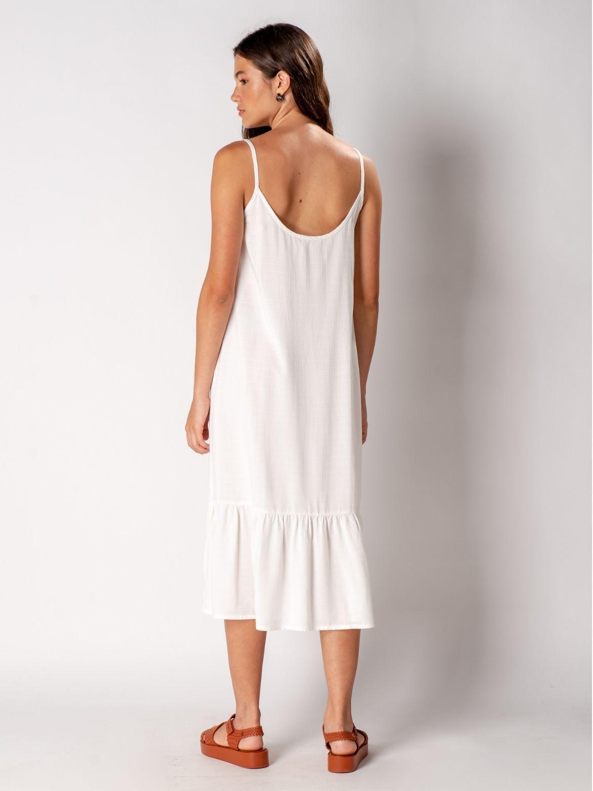 vestido eco viscose off-white