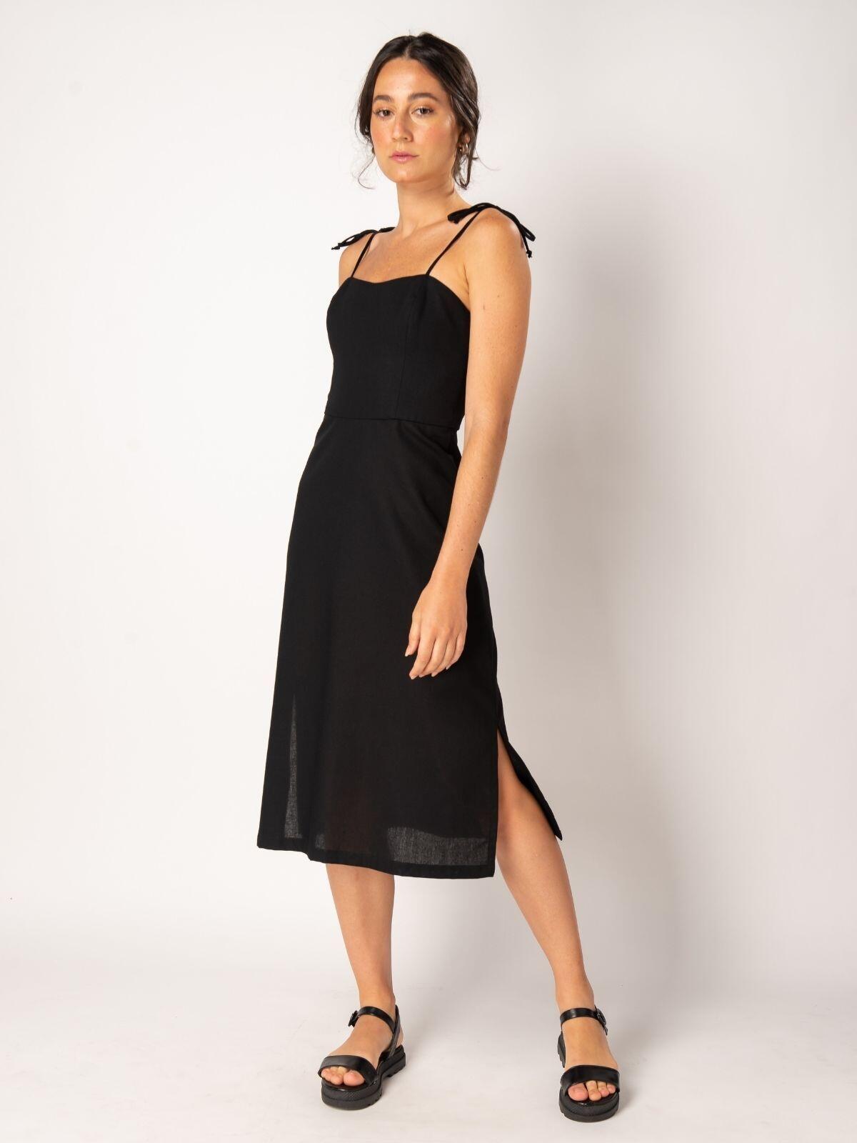 vestido eco linho preto