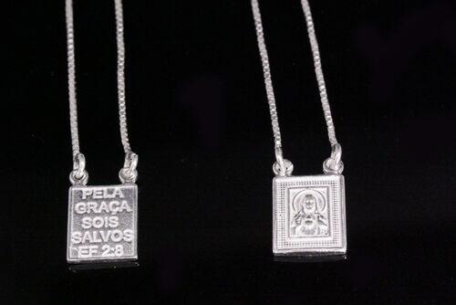 ESCAPULARIO VENEZIANA SAGRADO CORACAO DE JESUS 70CM. PRATA 925.