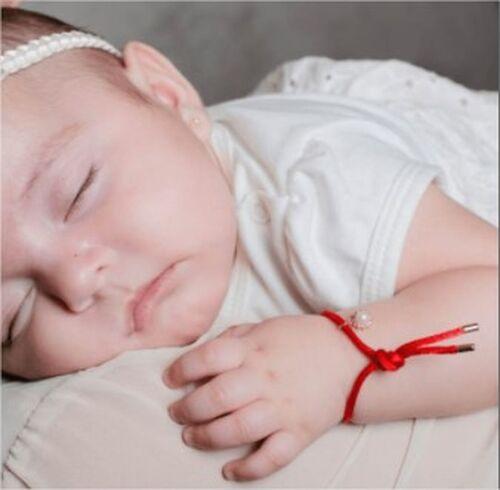 PULSEIRA FIO VERMELHO PONTEIRA DOURADA INFANTIL - 21 CM