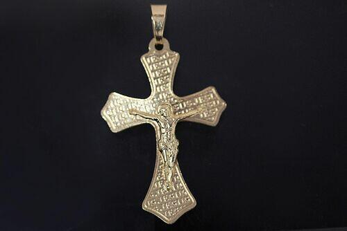 PINGENTE RELIGIOSO CRUZ COM JESUS FOLHEADO OURO 18K