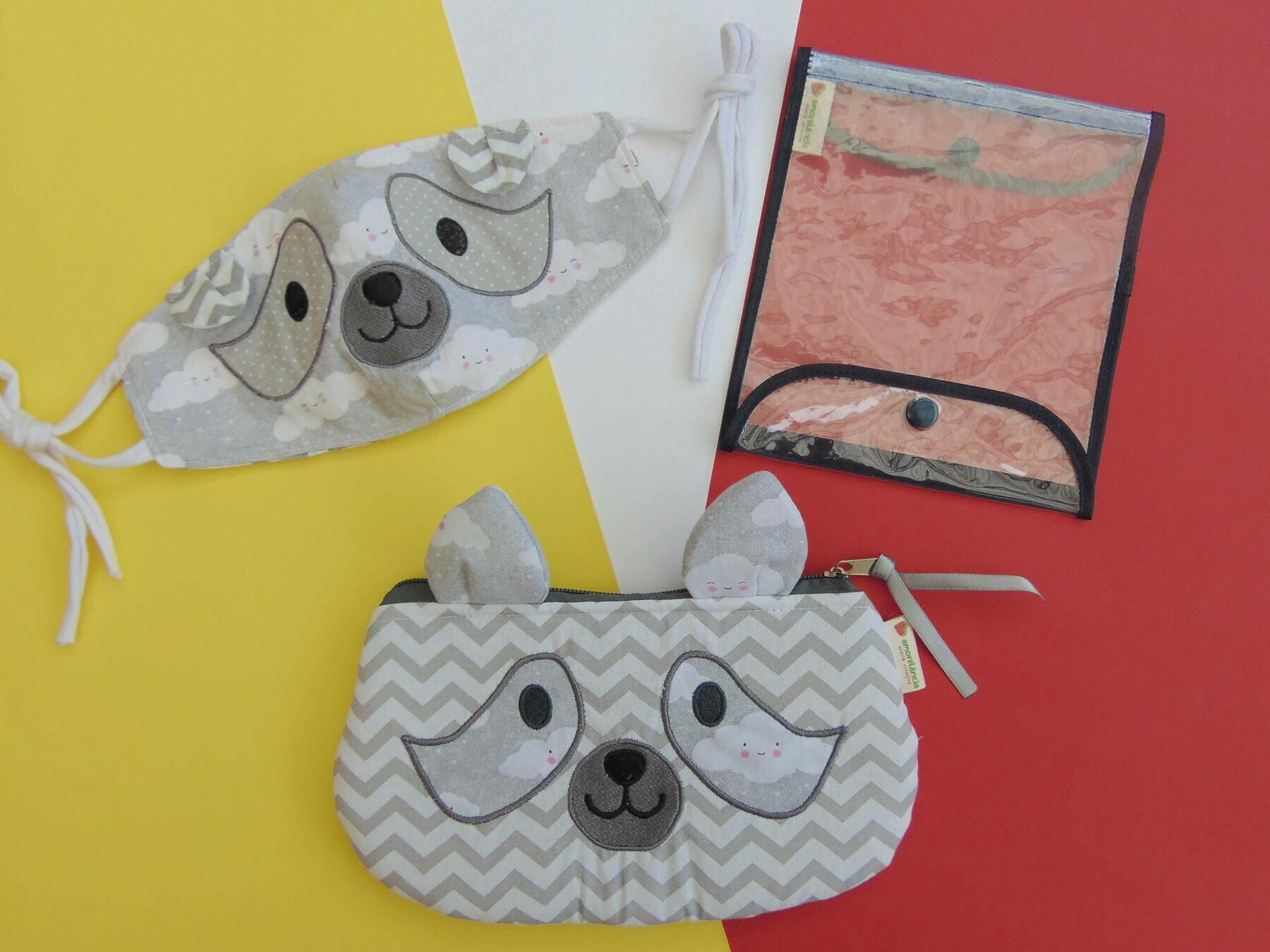 Conjunto Estojo e Máscara - Panda