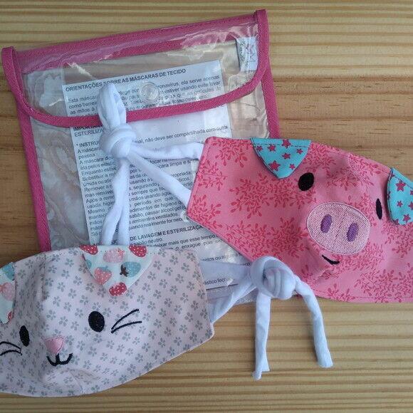 Kit 6 Máscaras Bichinhos + Porta máscaras duplo
