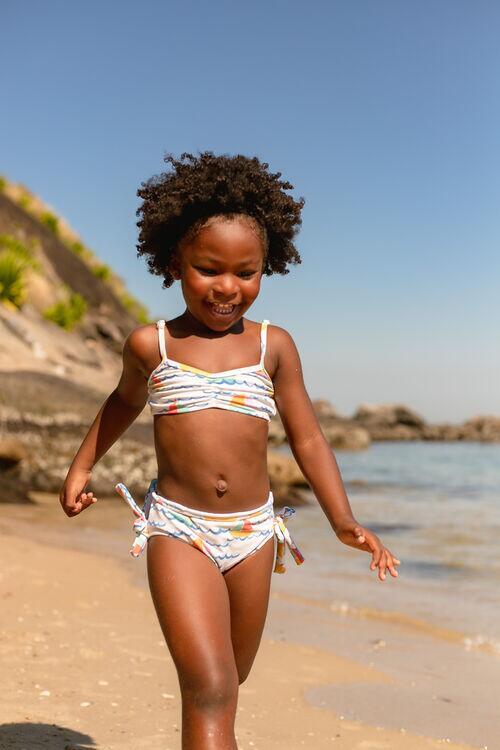 Biquíni Infantil Laços Barquinhos Off White Proteção UV