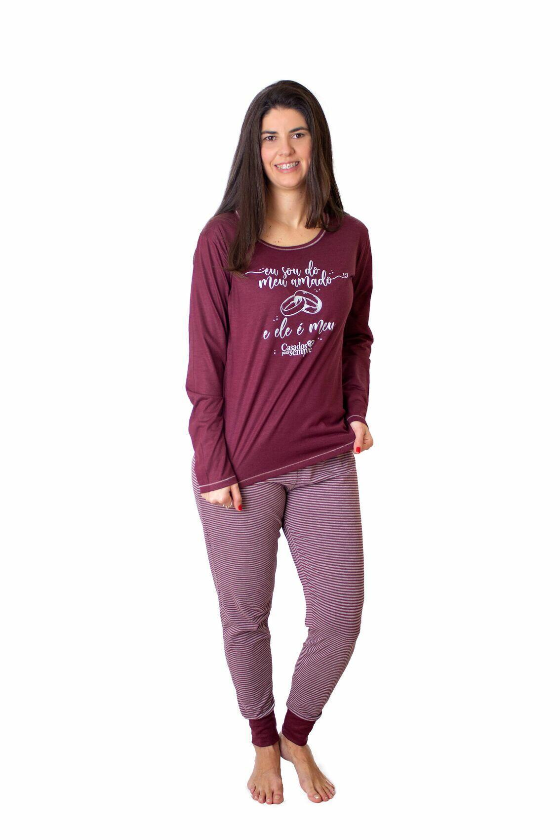 Pijama Longo Feminino   Eu Sou do Meu Amado