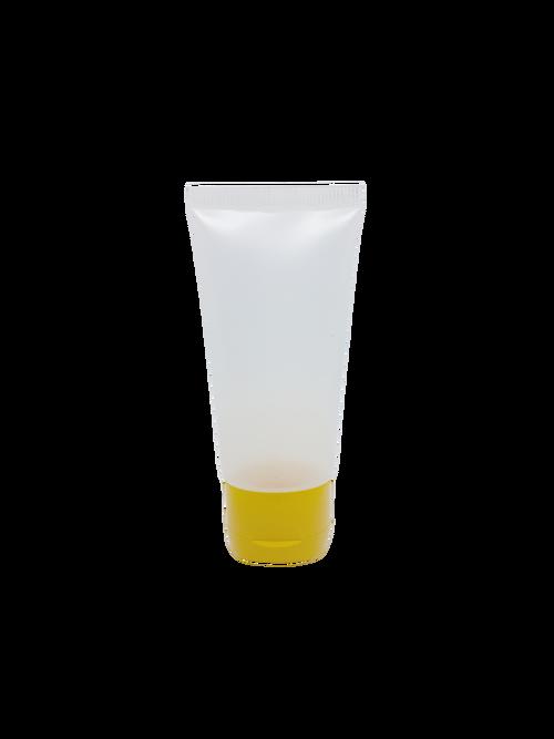Bisnaga Transparente Plástica 60gr com tampa colorida.