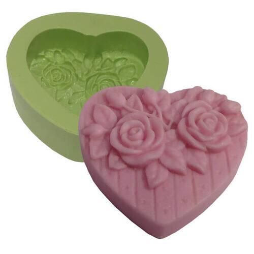 Molde Silicone Coração Médio com Rosas Ref.7232