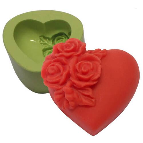 Molde de Silicone Coração Pequeno com Flores Ref.6490