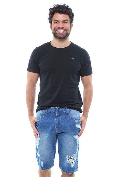 Bermuda Jeans Masculina Destroyed Crocker