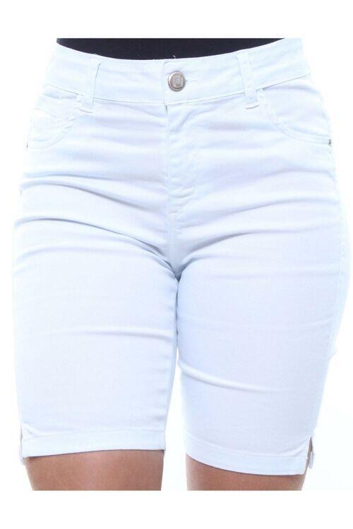 Bermuda 1/2 Coxa Feminina Jeans Branca Crocker