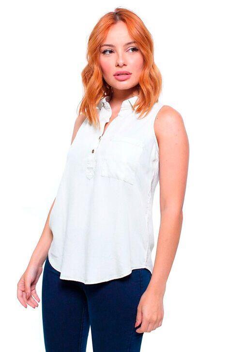 Camisa Feminina Jeans Sem Mangas Crocker
