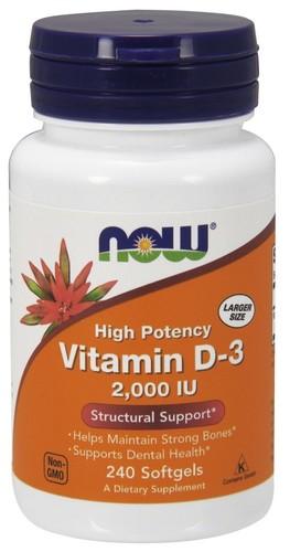 Vitamina D-3 2000 IU - Now Foods - 240 Softgels