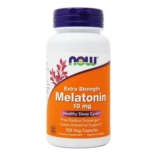 2 x Melatonina 10 mg extra forte  - Now Foods - Total 200 cápsulas