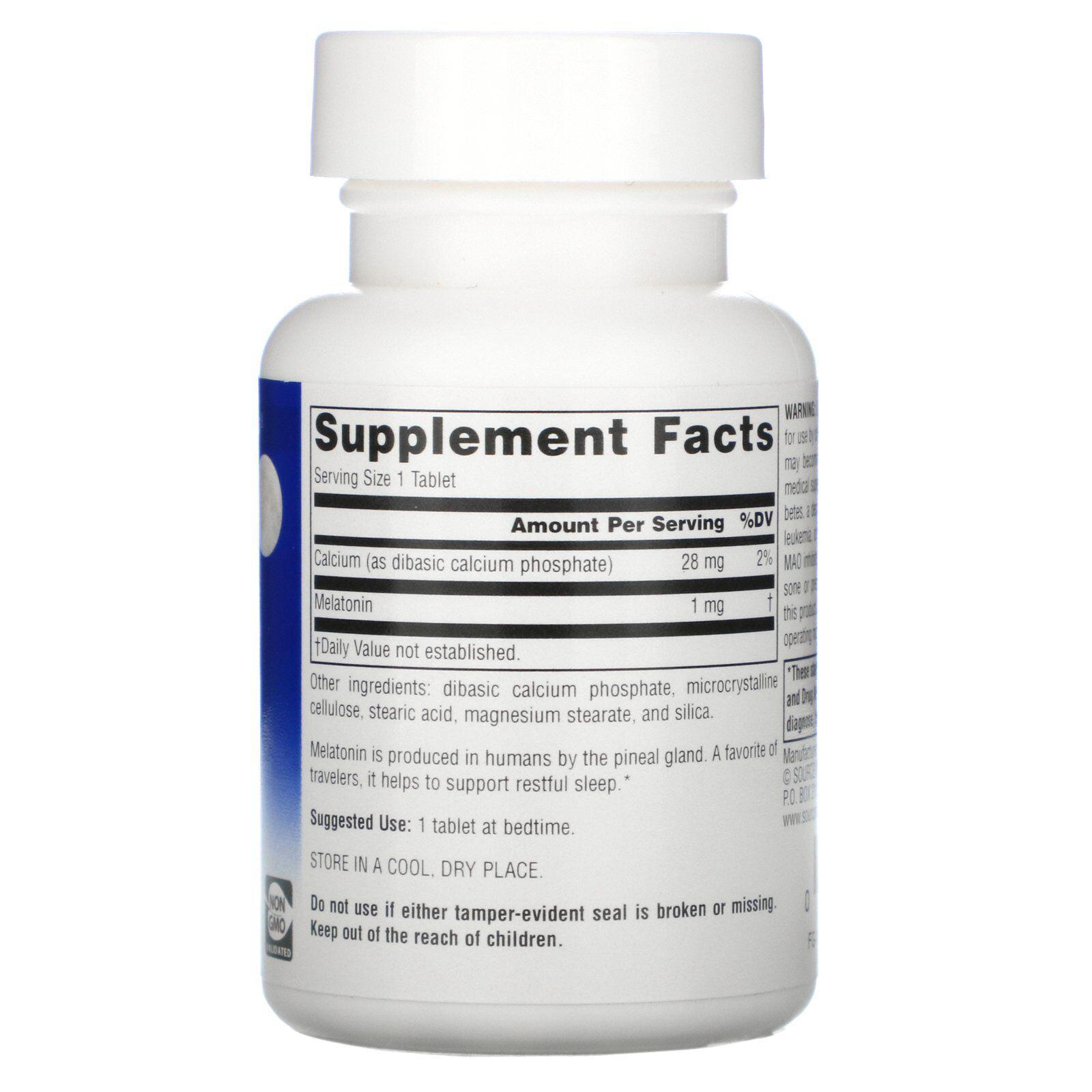 Melatonina 1 mg - Source Naturals - 100 comprimidos