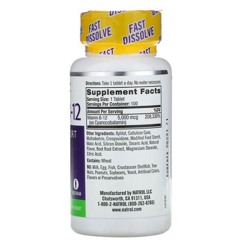 Vitamina B-12 5000 mcg Fast Dissolve - Natrol - 100 Tablets Frete Grátis