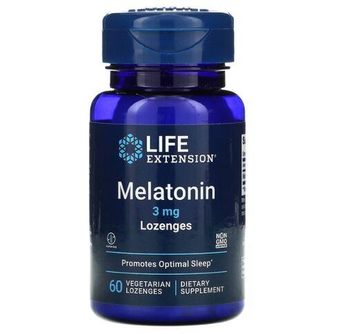 4x Melatonina 3 mg Lozenges - Life Extension - Total 240 Pastilhas