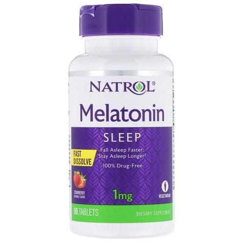 Melatonina 1 mg fast dissolve sublingual - Natrol - 90 tablets sabor Morango