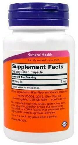 2 x Melatonina 3 mg - Now Foods - Total 120 Cápsulas