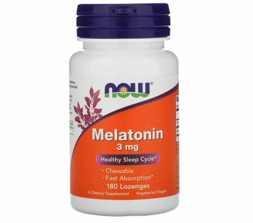 Melatonina 3 mg sublingual - Rápida Absorção - Now Foods - 180 comprimidos mastigáveis