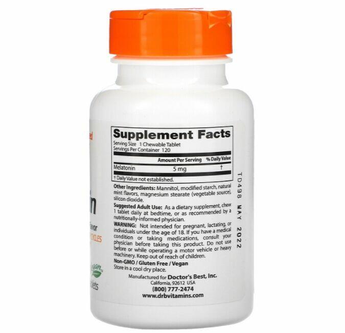 2 x Melatonina 5 mg sublingual - Doctor´s Best - Total 240 Tablets sabor Menta