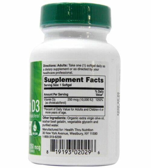 Vitamina D3 10000 UI - HTN - 120 softgels