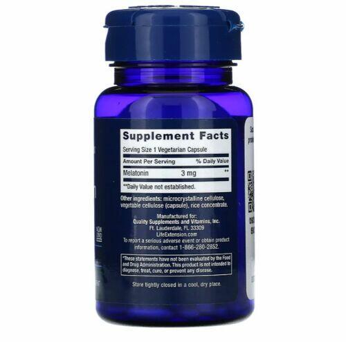 Melatonina 3 mg - Life Extension - 60 cápsulas vegetarianas