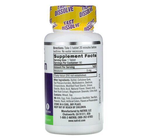 2 x Melatonina 5 mg Fast Dissolve sublingual Sabor Morango - Natrol - Total 180 comprimidos -  Frete Grátis