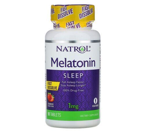 2 x Melatonina 1 mg fast dissolve sublingual - Natrol - Total 180 tablets sabor Morango