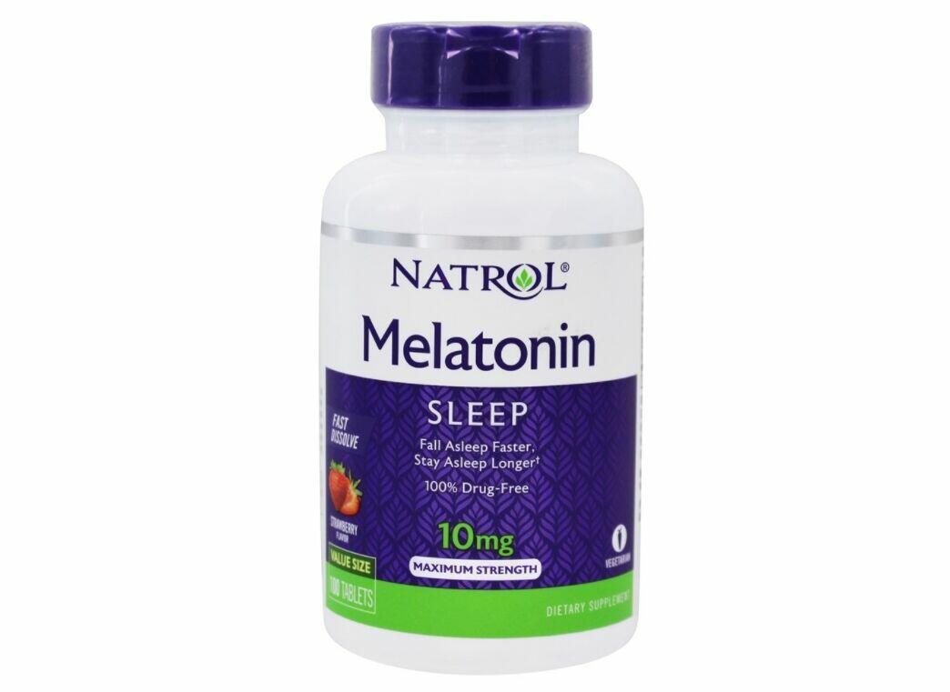 2x Melatonina 10 mg Fast Dissolve sublingual sabor Morango - Natrol - Total 200 comprimidos