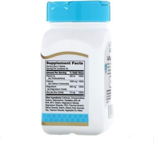 2 x Cálcio - Magnézio - Zinco + Vitamina D3 - 21 st Century - Total 180 Tablets