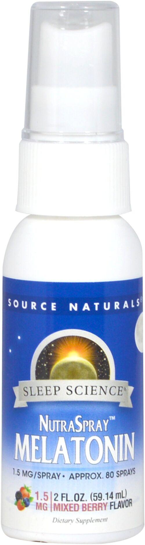 Melatonina líquida Spray Sabor Morango  - Source Naturals - 60 ml