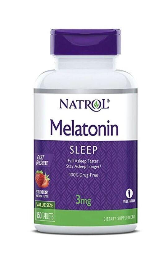 Melatonina 3 mg Fast Dissolve - Natrol - 150 Comprimidos de Morango
