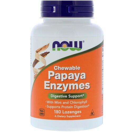 Papaya Enzyme (Enzima de Papaia) - Now Foods - 180 comprimidos mastigáveis