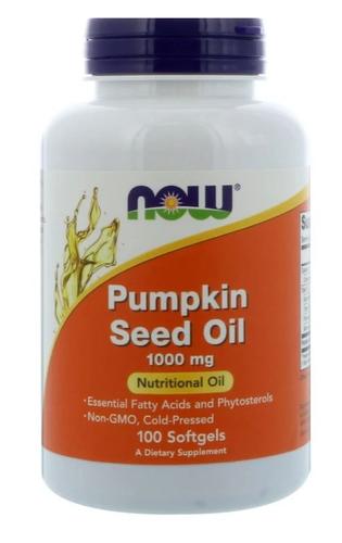 Óleo de Semente de abóbora - Now Foods - 1000 mg - 100 Softgels