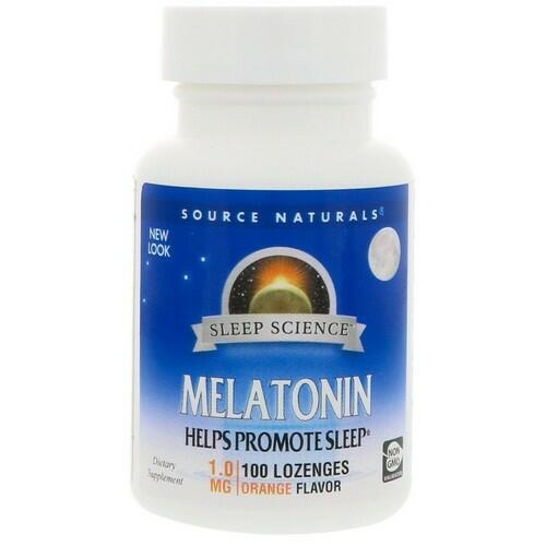Melatonina 1 mg sublingual sabor Laranja - Source Naturals - 100 comprimidos (hormônio do sono)