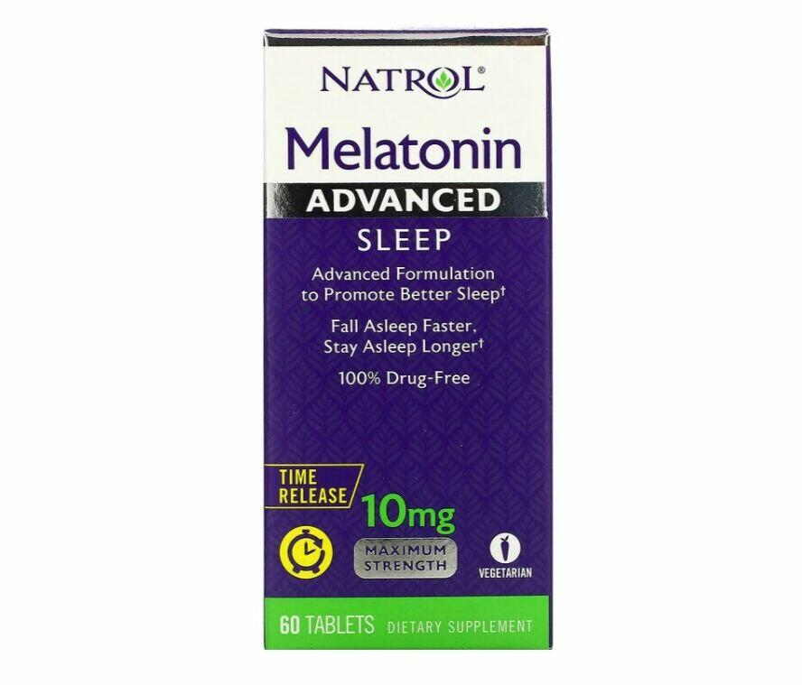 Melatonina 10 mg Liberação Rápida e Gradual -  Natrol - 60 comprimidos Força Máxima