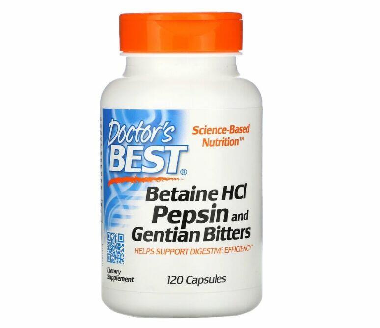 Betaína HCL Pepsina e Genciana Doctor's Best -120 Cápsulas