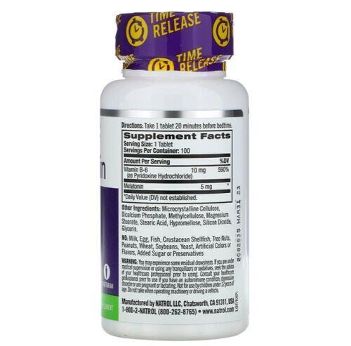Melatonina 5 mg Liberação Gradual -  Natrol - 100 comprimidos