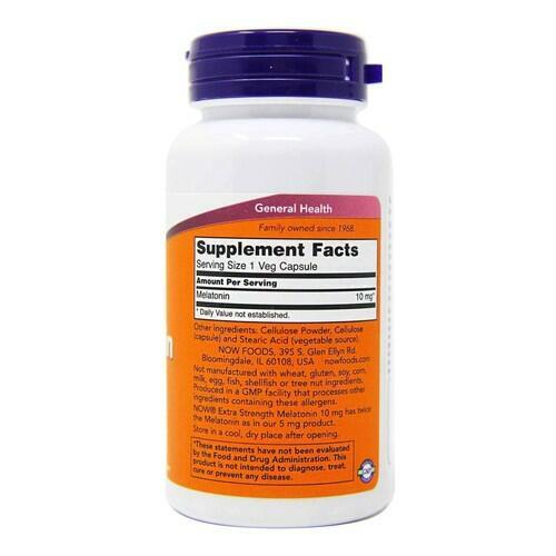 Melatonina 10 mg extra forte  - Now Foods - 100 cápsulas