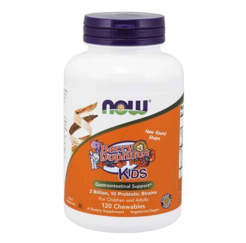 Probiótico Berry Dophilus KIDS (Crianças)  2 Bilhões - Now Foods - 120 pastilhas